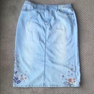 Christopher & Banks| Light Denim Embroidered Skirt